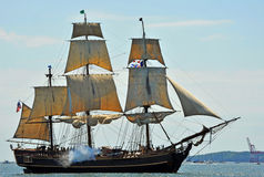 HMS Bounty. The tall ship HMS Bounty, a replica of the famous ship built in 1960 in Lunenburg, Nova Scotia. It is shown here during the Tall Ships event in stock image