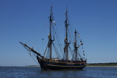 HMS Bounty. One of the last public engagements for the HMS Bounty was Opsail 2012 in Norfolk, VA. She lies at anchor off Lynnhaven Beach, in Chesapeake Bay Stock Photography