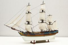 HMS Bounty Model. Model Of The HMS Bounty Where A Mutiny Occurred In 1789. Built By The Photographer Himself And Captured In A Studio Setting royalty free stock images