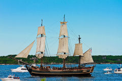 HMS Bounty, Mystic, Ct. Image of the HMS Bounty out of Mystic, CT. The Bounty sank in Hurricane Sandy, October, 2012 off the coast of North Carolina stock photos