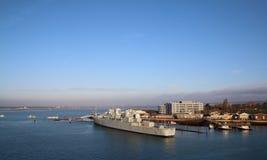 HMS Bristol in Portsmouth harbour Gosport. stock photography