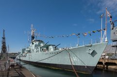 HMS Cavalier in Chatham Dockyard. HMS Cavalier is a retired C-class destroyer of the Royal Navy. D73 stock image