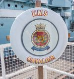 HMS Cavalier Lifebelt and Crest stock photography