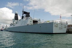 HMS Diamond, Royal Navy Destroyer. PORTSMOUTH, ENGLAND - AUGUST 2: HMS Diamond, one of the newest destroyers in the Royal Navy, receives final preparations Royalty Free Stock Image
