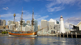 HMS Endeavour Replica. A replica of James Cooks HMS Endeavour, moored alongside the Australian National Maritime Museum in Darling Harbour, Sydney, is one of the Stock Photos