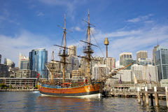 HMS Endeavour Replica. A replica of James Cooks HMS Endeavour, moored alongside the Australian National Maritime Museum in Darling Harbour, Sydney, is one of the royalty free stock image