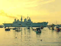 HMS Illustrious. Entering Portsmouth Harbour November 2012 Stock Images