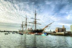 HMS-Krieger - Portsmouth Stockbild