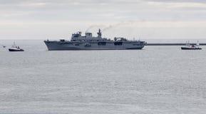 HMS Ocean returning to Plymouth Stock Photos