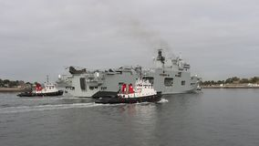 Hms Ocean, Royal Navy Aircraft carrier , plymouth , devon stock video footage