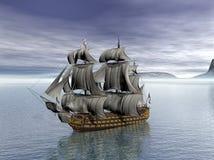 HMS-Overwinningsschip met Britse vlaggen stock illustratie