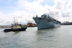 HMS-Ozean, der in Sunderland, am 1. Mai 2015 ankommt Stockfotografie