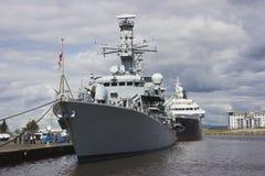 HMS Portland em Leith, Edimburgo, Scotland Foto de Stock Royalty Free