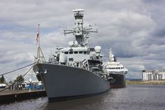 HMS Portland in Leith, Edinburgh, Schotland Royalty-vrije Stock Foto