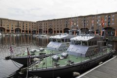 HMS Ranger foreground and HMS Smiter background Archer class. Patrol vessels in the Royal Navy visiting the Albert Dock Liverpool for the Tall Ships Festival Stock Photos