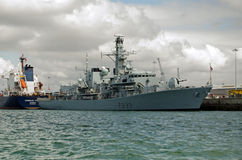 HMS Richmond, Portsmouth. PORTSMOUTH, ENGLAND - AUGUST 2: The Royal Navy frigate HMS Richmond moored in Portsmouth Harbour before being deployed for military Stock Photography
