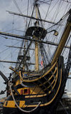 HMS Victory. Closeup of the Royal Navy flagship HMS victory in Portsmouth, England stock photos