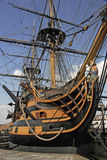 HMS Victory. Was Nelsons flagship at the battle of Trafalgar when the French were soundly defeated on 21st October 1805, but that was also the day of the Stock Photo