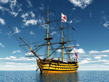 HMS Victory. Computer generated 3D illustration with the ancient British flagship HMS Victory Stock Photo