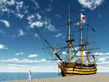 HMS Victory. Computer generated 3D illustration with the ancient British flagship HMS Victory Stock Images