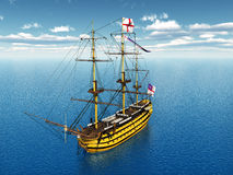 HMS Victory. Computer generated 3D illustration with the ancient British flagship HMS Victory Stock Photos