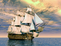 HMS Victory. Computer generated 3D illustration with the ancient British flagship HMS Victory Royalty Free Stock Images