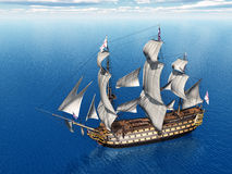 HMS Victory. Computer generated 3D illustration with the ancient British flagship HMS Victory Stock Photography