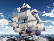 HMS Victory. Computer generated 3D illustration with the ancient British flagship HMS Victory in the stormy ocean Stock Photo