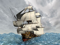 HMS Victory. Computer generated 3D illustration with the British Flagship HMS Victory in the stormy ocean Stock Images