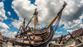HMS Victory docked in Portsmouth. It was the flagship of admiral Nelson in Trafalgar stock photography