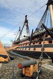 HMS Victory Famous warship involved in the battle of Trafalgar captained by Admiral Lord Nelson in 1765. HMS Victory at Portsmouth Harbor, England. Famous Stock Photos