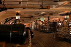 HMS Victory Famous warship involved in the battle of Trafalgar captained by Admiral Lord Nelson in 1765. HMS Victory at Portsmouth Harbor, England. Famous Royalty Free Stock Photos