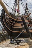 The Bow of HMS Victory. The HMS Victory in its dry dock in Portsmouth, UK. One of its anchors in the foreground stock photo
