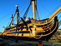 HMS Victory Portsmouth Harbour, England, United Kingdoms. The world famous HMS Victory at Portsmouth Harbour, England. Now in dry dock and a tourist attraction royalty free stock image