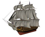 HMS Victory ship - 3D render Royalty Free Stock Photo