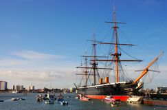 HMS Warrior, built in 1860. The world's first ironclad warship, Portsmouth, Southern England Royalty Free Stock Photos