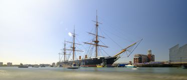 HMS Warrior (1862) - the first British ironclad battleship built for the Royal Navy -  in spring afternoon light with slow shutter stock image