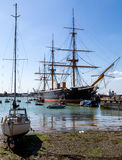 HMS Warrior. At Portsmouth Naval Dockyard - built 1860 Royalty Free Stock Photo