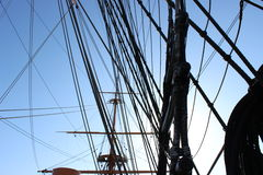 HMS Warrior Rigging with sun Royalty Free Stock Image