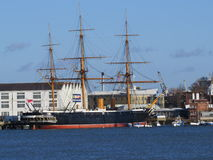 HMS Warrior. Was the worlds first steam powered iron clad warship (although it also used sails). When it was built, in 1860, it was a formidable opponent Royalty Free Stock Image