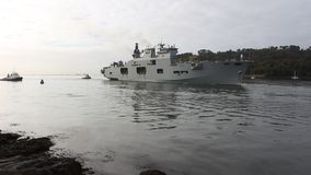 Hmsoceaan, vliegdekschip Koninklijk NAY Battleship, Plymouth, Devon stock footage
