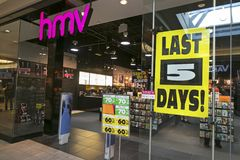HMV Canada Closure. Nationwide Canadian Closure of HMV Stores captured in Market Mall Shopping Center in Calgary, Alberta.   Ontario based Sunrise Records moved Royalty Free Stock Image