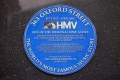 HMV-Plakette in London Stockbilder