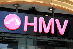 HMV sign. London, United Kingdom, May 8, 2011 : HMV Nipper logo advertising sign outside one of its retail  stores in Leicester Square Royalty Free Stock Images