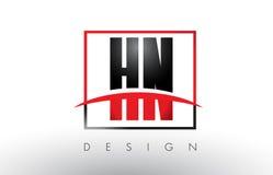 HN H N Logo Letters avec des couleurs et le bruissement rouges et noirs Photo stock
