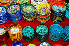 Hnad Painted Plates. Hand decorated plates on the shelves of the grand bazaar Royalty Free Stock Images