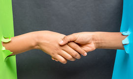 Hnad shake tow nation. Hand shake two colour, green and blue, multi ethinic Stock Photo