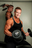 Hnadsome young man working out with dumbbells in fitness -  powe Stock Photography