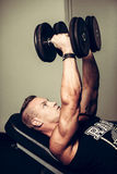 Hnadsome young man working out with dumbbells in fitness -  powe Royalty Free Stock Photos