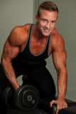Hnadsome young man working out with dumbbells in fitness -  powe Royalty Free Stock Images